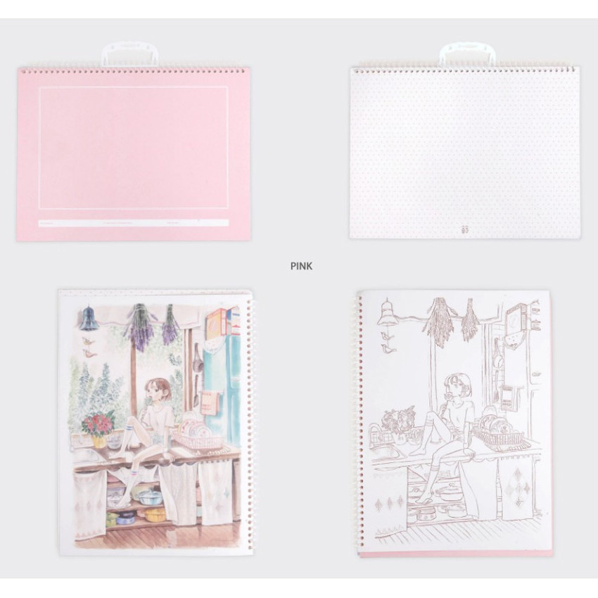 Pink - SOSOMOONGOO Time together large spiral drawing notebook