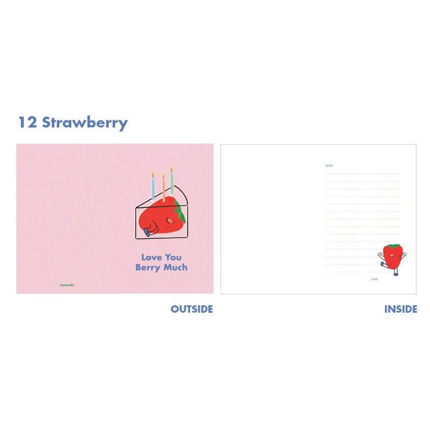 Strawberry - Jam studio Jam birthday card with envelope ver2