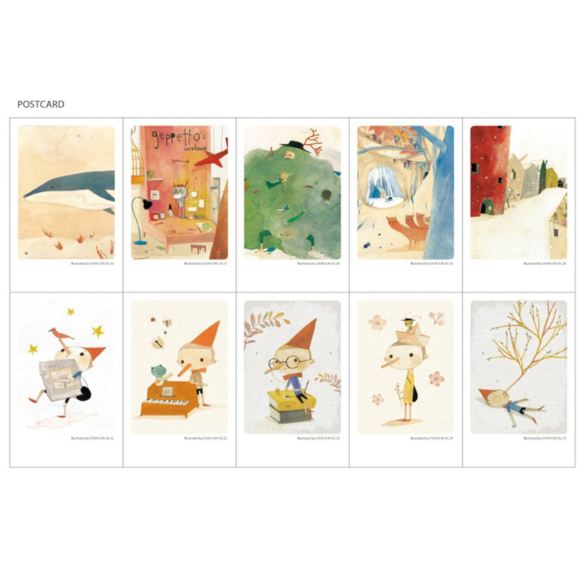 Pinocchio small postcard with stickers
