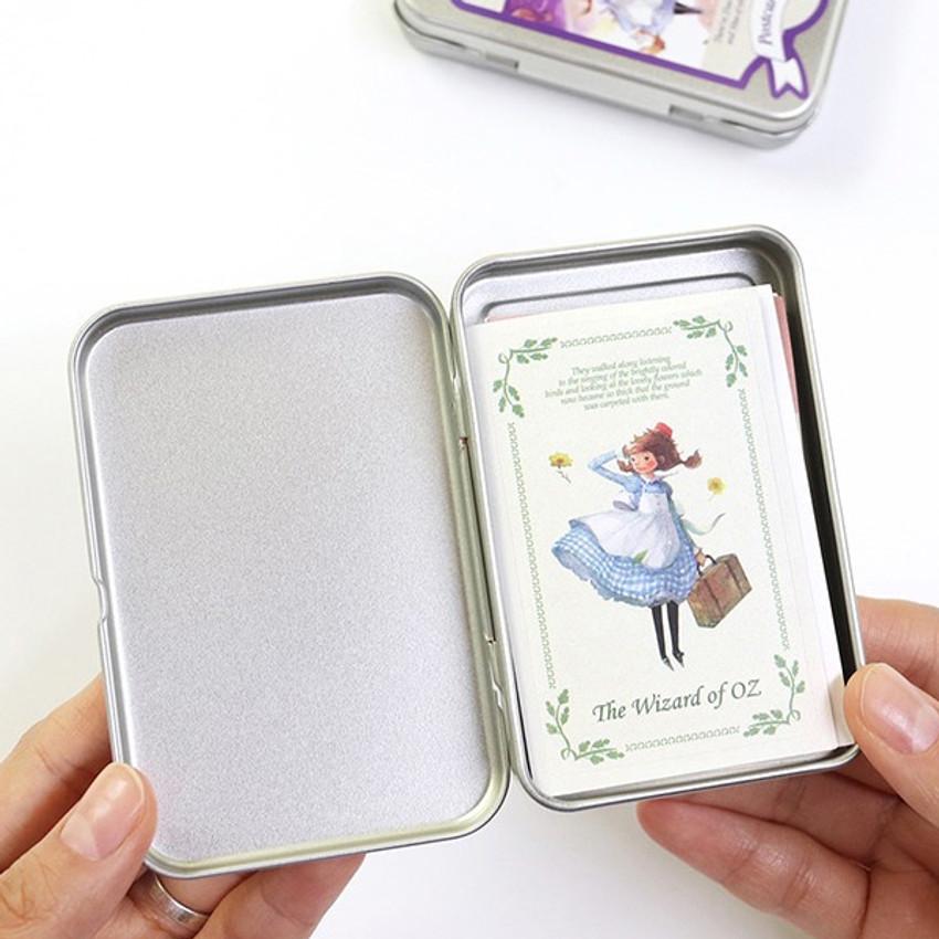 Tin case - Indigo OZ small postcard with stickers
