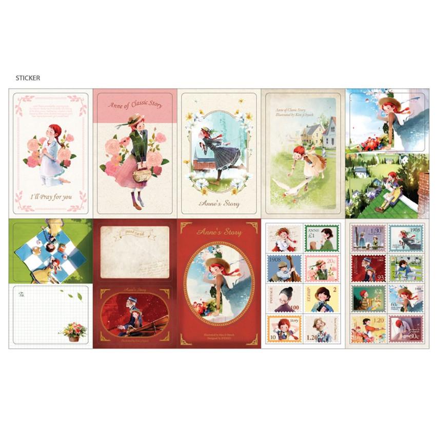 Sticker - Indigo Anne small postcard with stickers