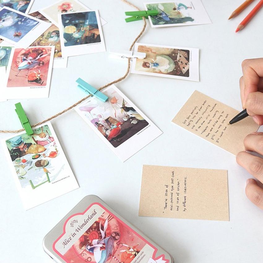 Indigo Classic fairy tale Alice small postcard with stickers
