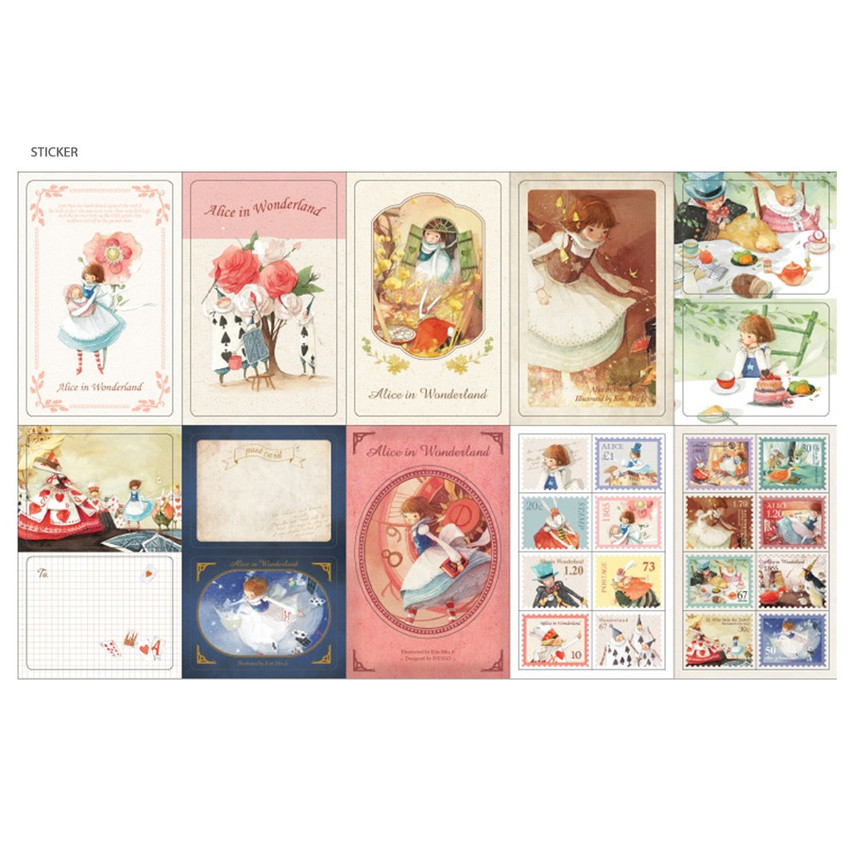 Sticker - Indigo Alice small postcard with stickers