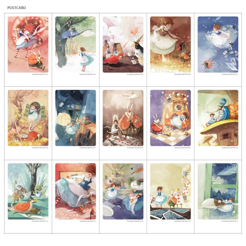 Postcard - Indigo Alice small postcard with stickers