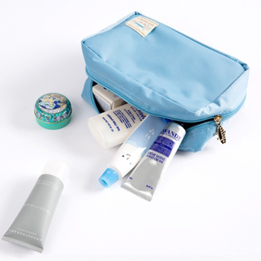 Indi blue - Ggo deung o beauty cosmetic makeup pouch