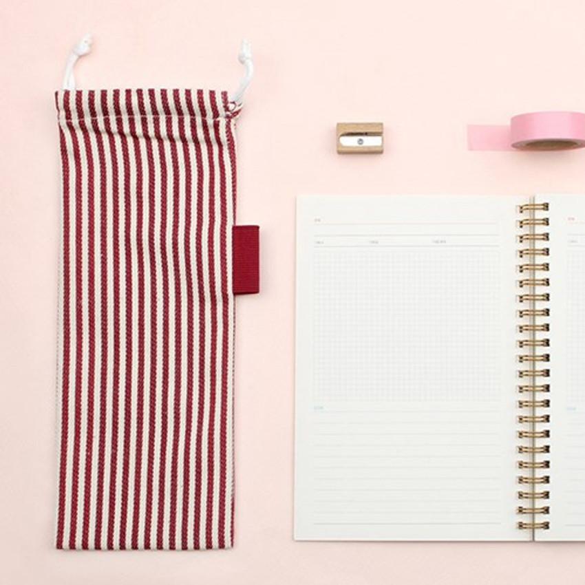 Red - Bookfriends Stripe medium drawstring pouch