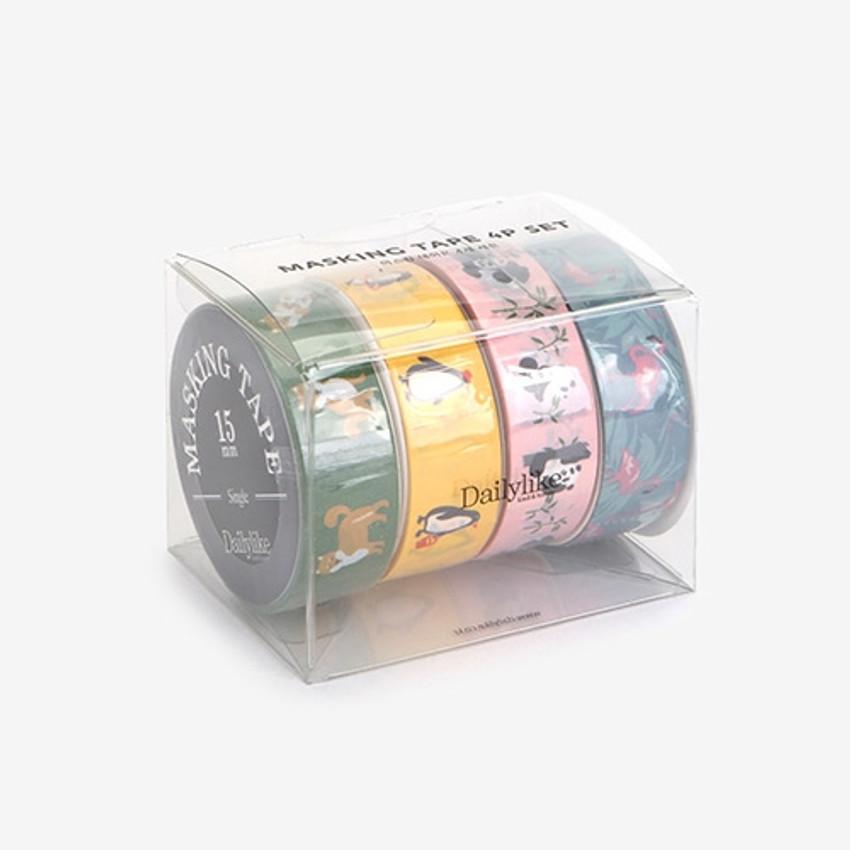 Dailylike Animal 2 deco masking tape set of 4