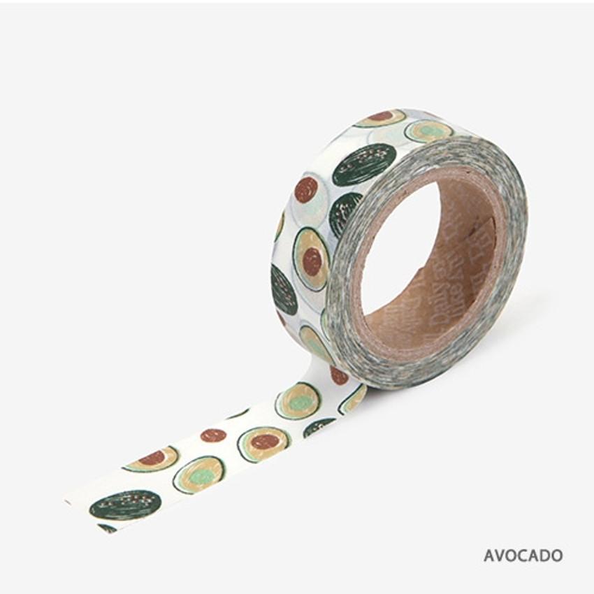 Avocado - Dailylike Fruits deco masking tape set of 4
