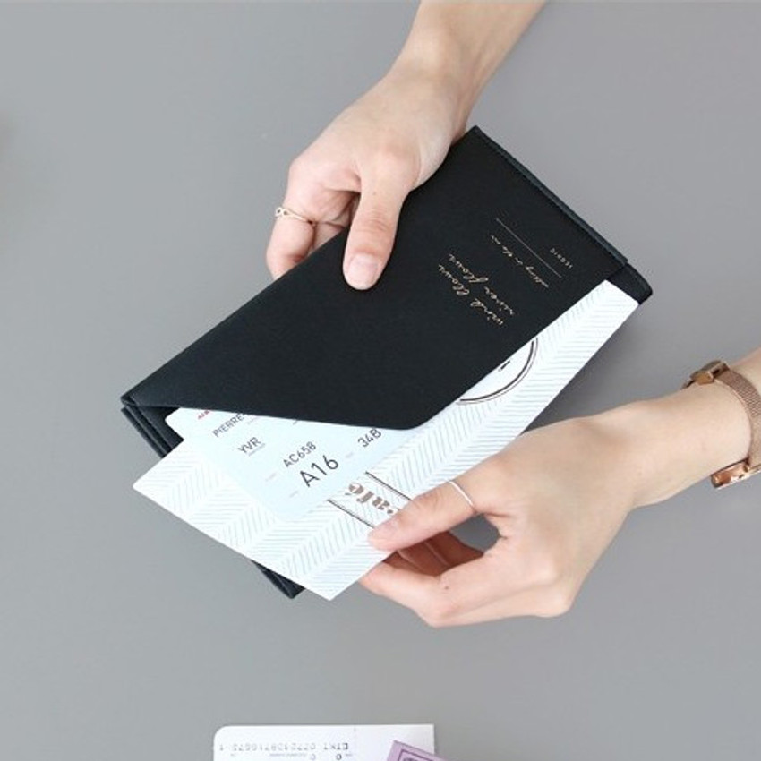 Black - Iconic Slit passport cover case holder wallet