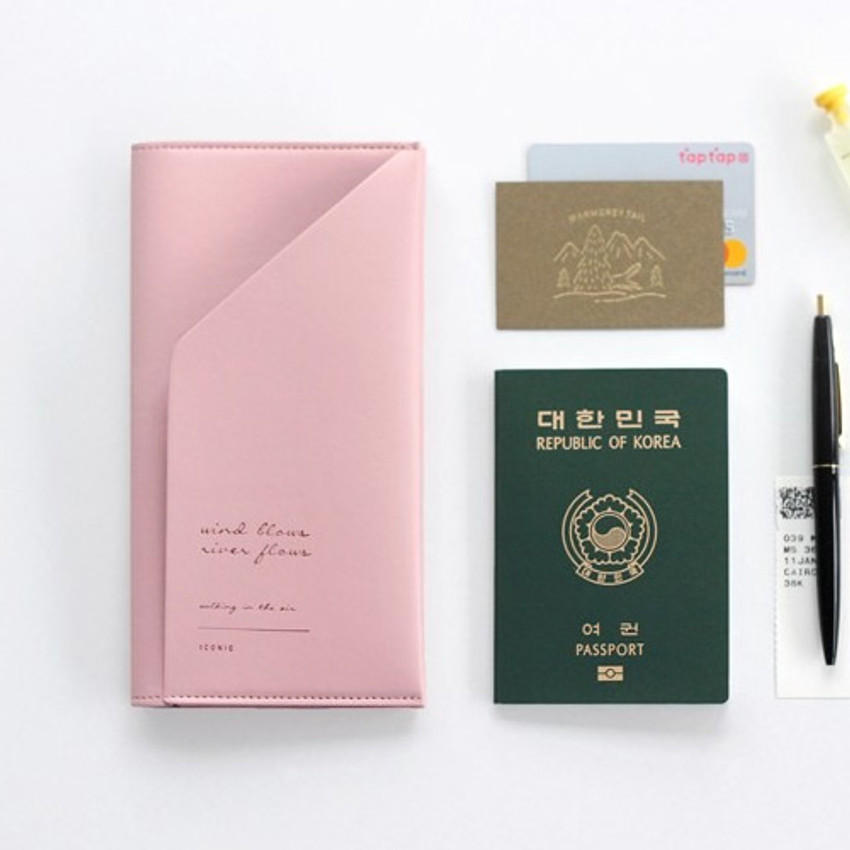 Pink -Iconic Slit passport cover case holder wallet