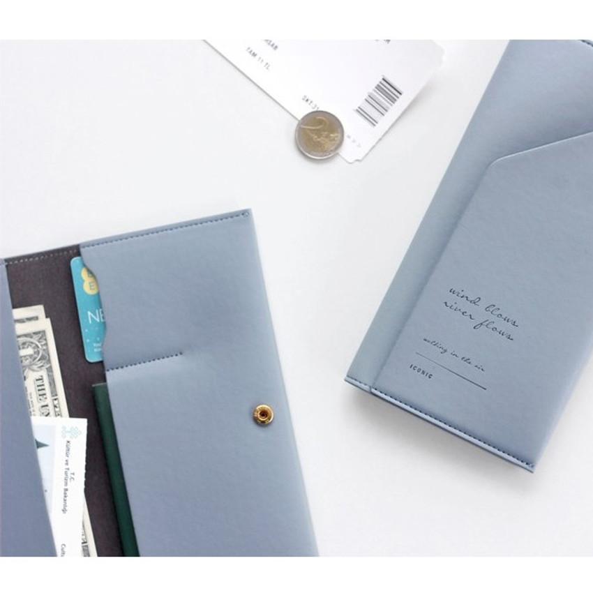 Pale blue - Iconic Slit passport cover case holder wallet
