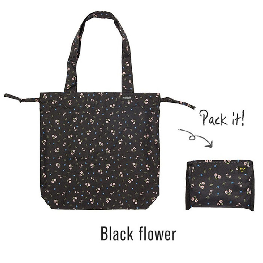 Black  - Botanical island travel foldable shoulder bag
