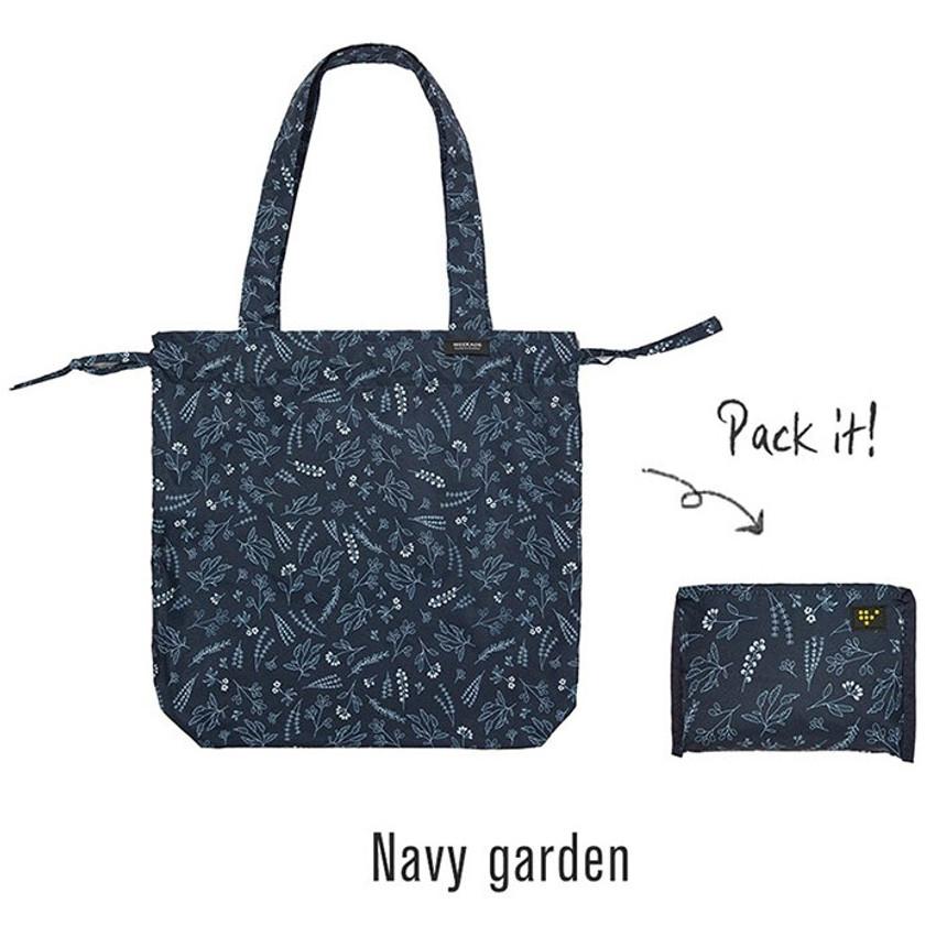 Navy - Botanical island travel foldable shoulder bag