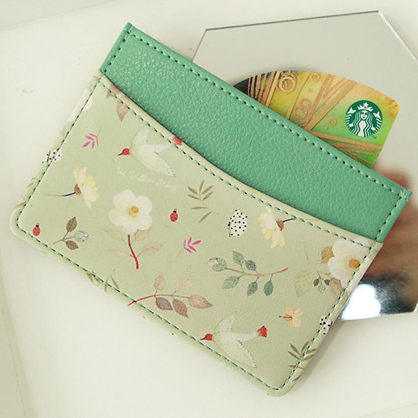 Mint flower - Willow story pattern flat card case holder ver2