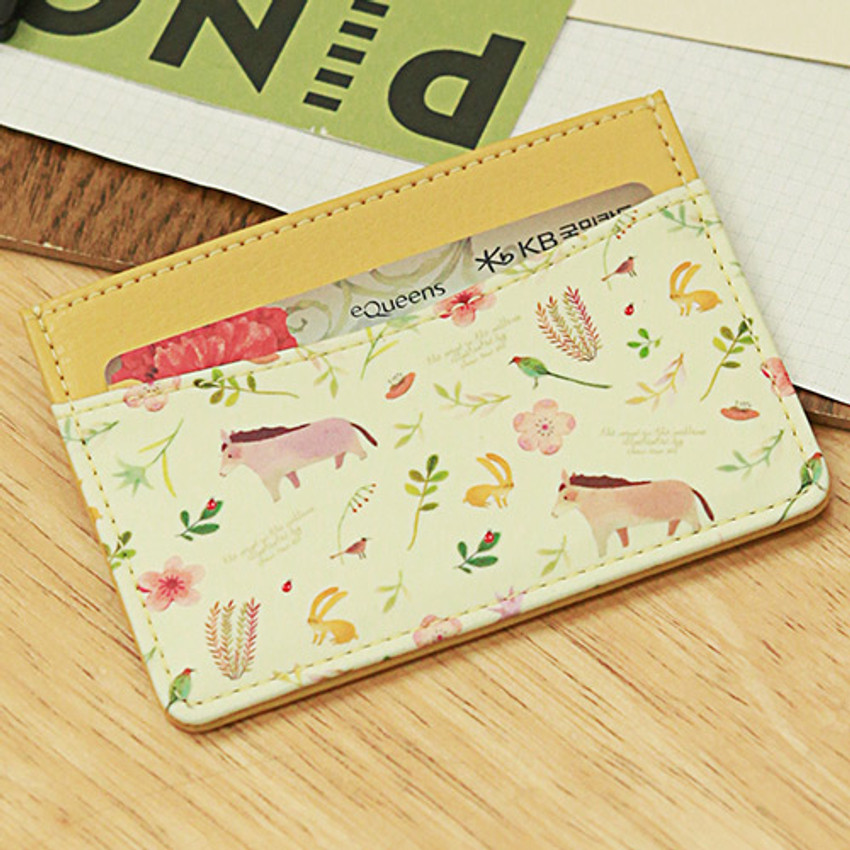 Yellow horse - Willow story pattern flat card case holder ver2