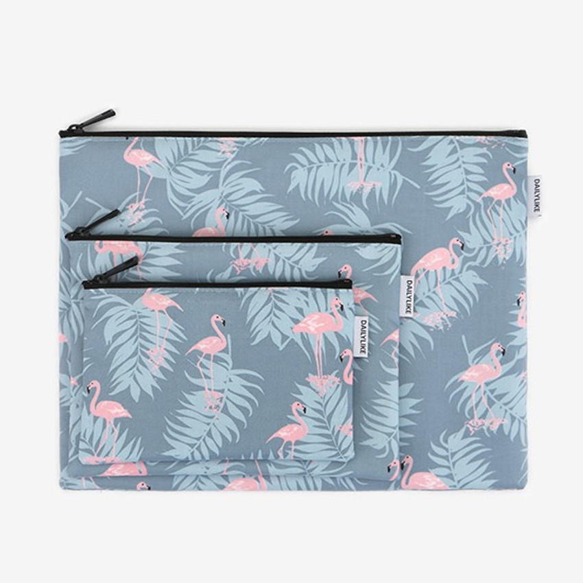 Laminated cotton fabric zipper pouch - Flamingo
