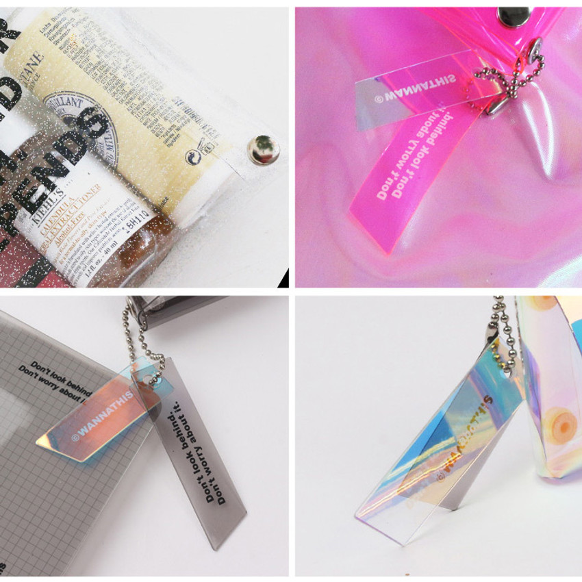Wanna This Square clear pocket folding pouch bag