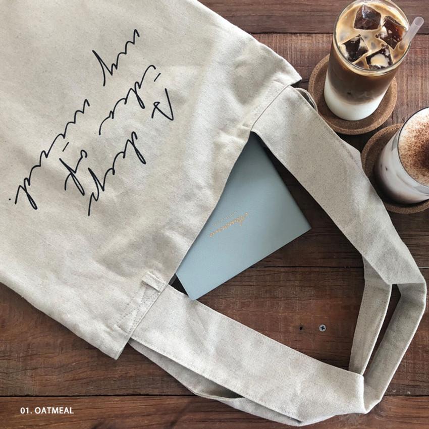 Oatmeal - Mind linen fabric daily shoulder bag