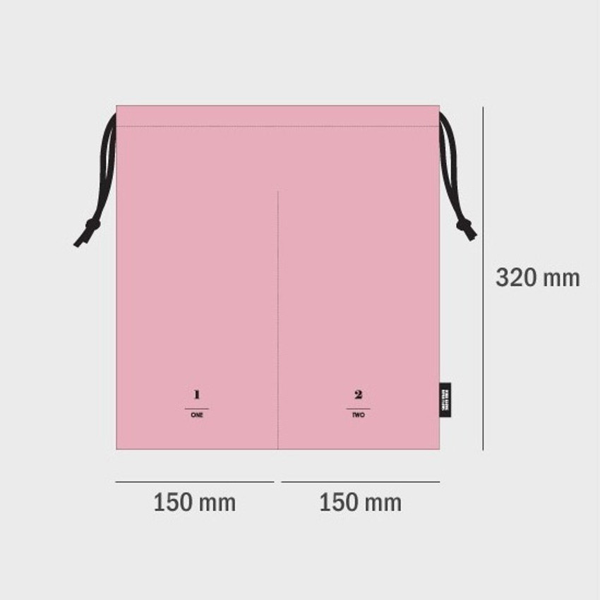 Size of Split travel divided cotton drawstring pouch