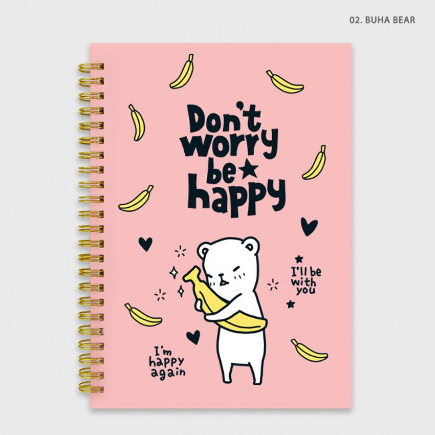 Buha bear - Cute illustration A5 spiral lined notebook