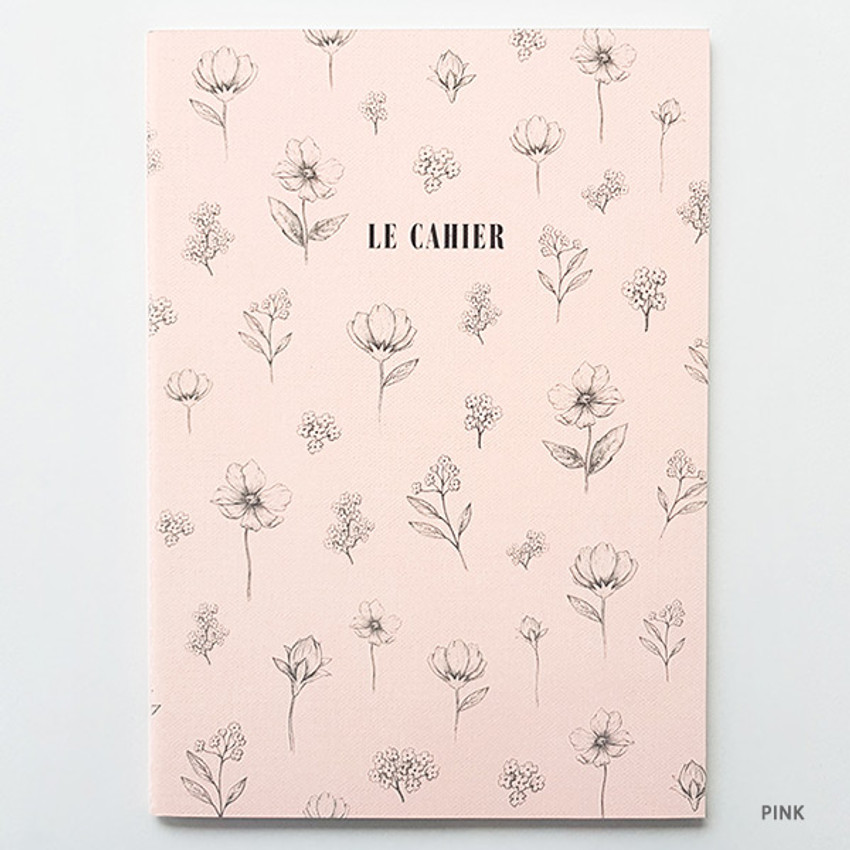 Pink - O-check Le cahier floral medium dot grid notebook