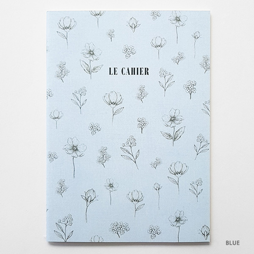 Blue - O-check Le cahier floral medium dot grid notebook