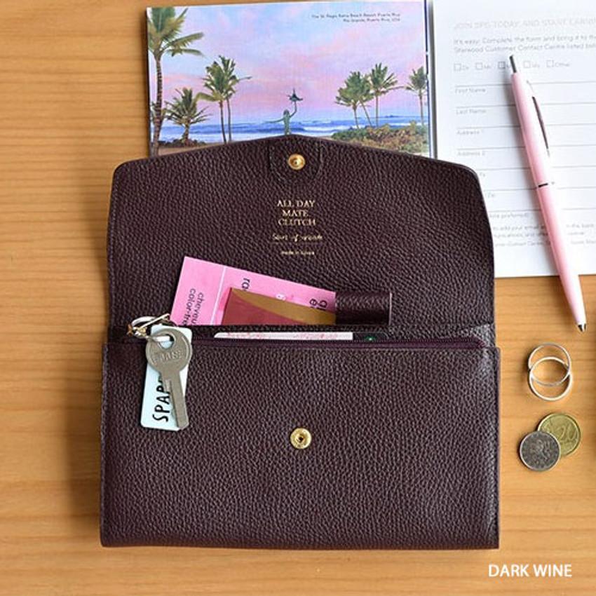 Dark wine - Allday mate genuine cowhide leather clutch wallet