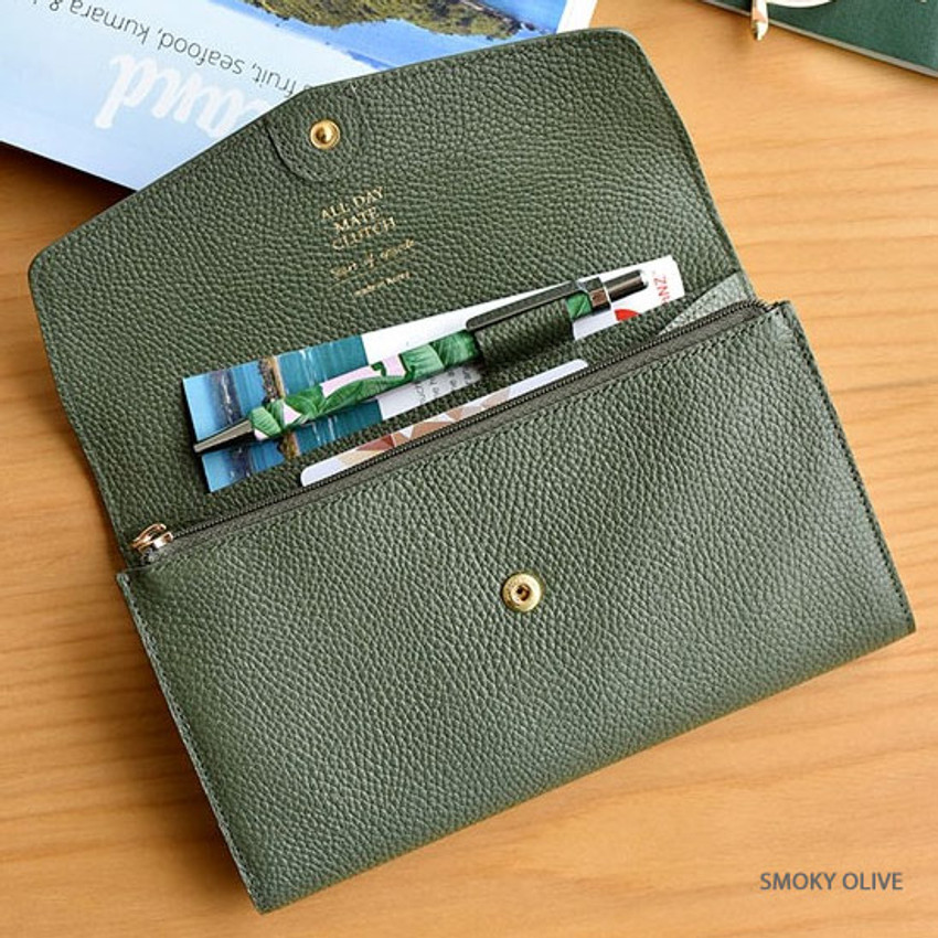 Smoky olive - Allday mate genuine cowhide leather clutch wallet