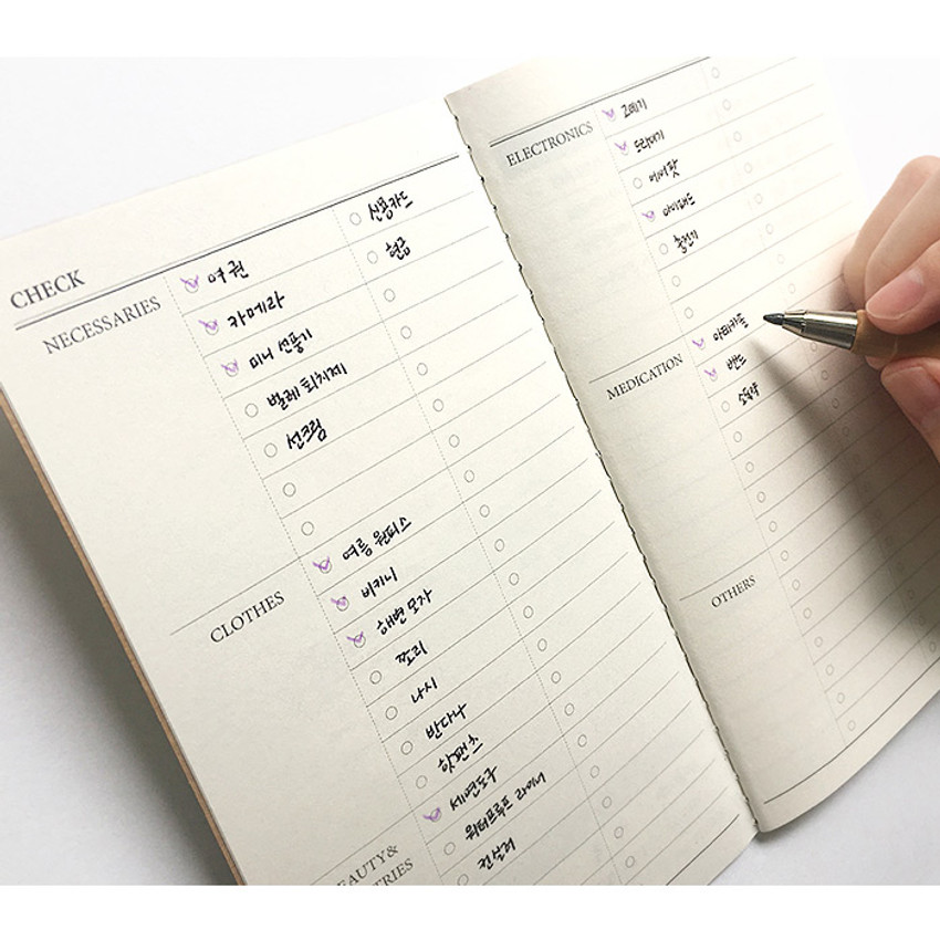 Checklist - O-check Light travel daily planner notebook