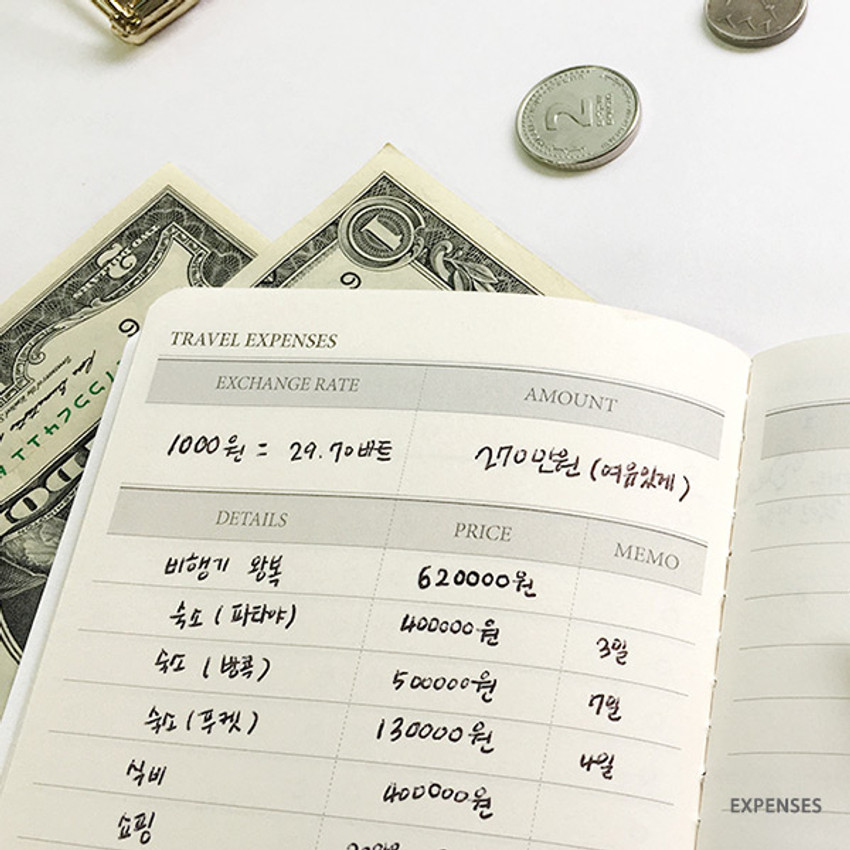 Expenses - O-check Light travel daily planner notebook