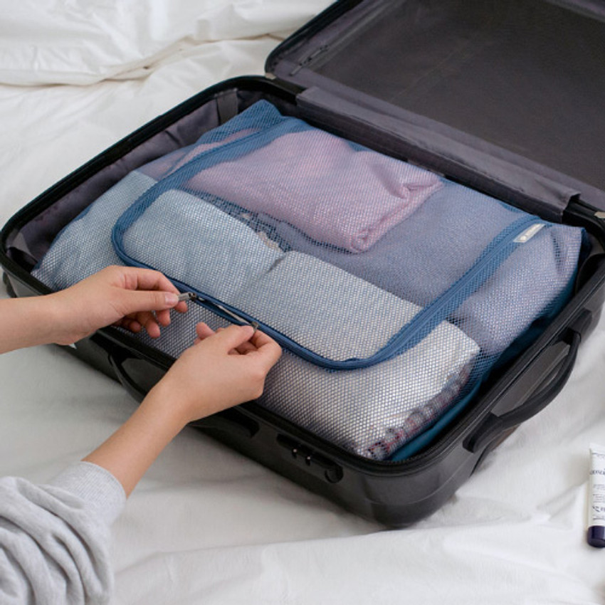 Blue gray - Travelus mesh packing organizer bag XXL ver3