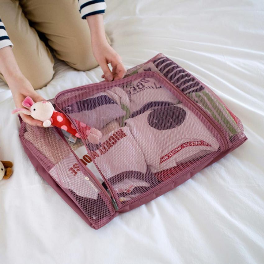 Indi pink - Travelus mesh packing organizer bag XL ver3