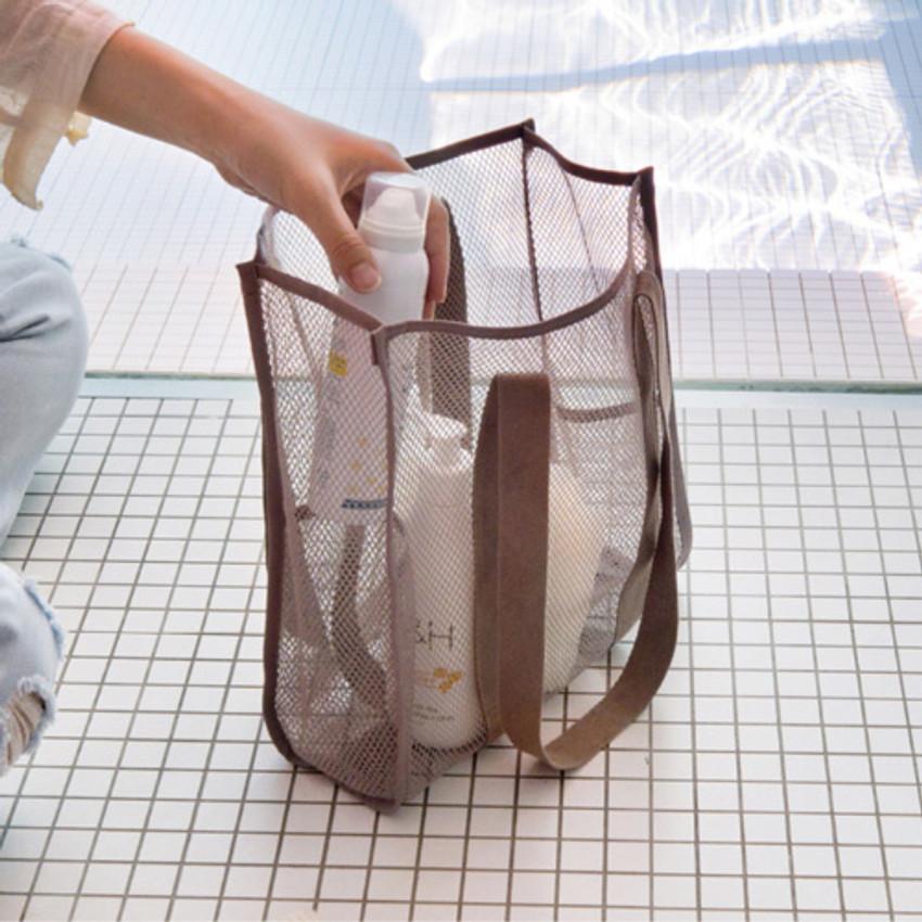 Beige -  Travelus mesh shoulder tote travel bag