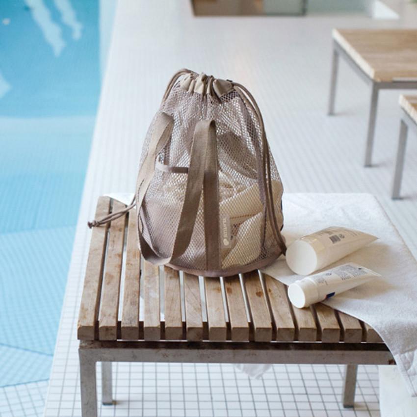 Beige - Travelus mesh bucket tote travel bag