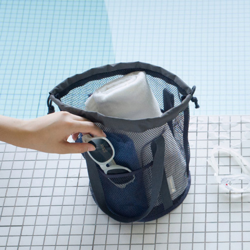 Charcoal gray - Travelus mesh bucket tote travel bag
