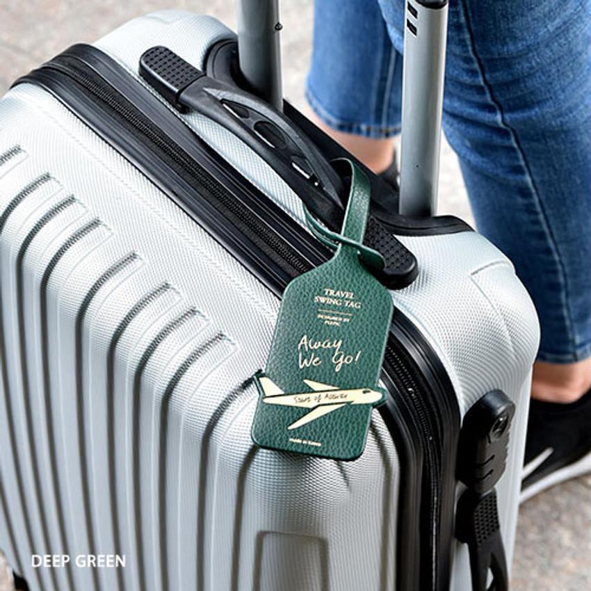 Deep green - Away we go travel swing luggage name tag