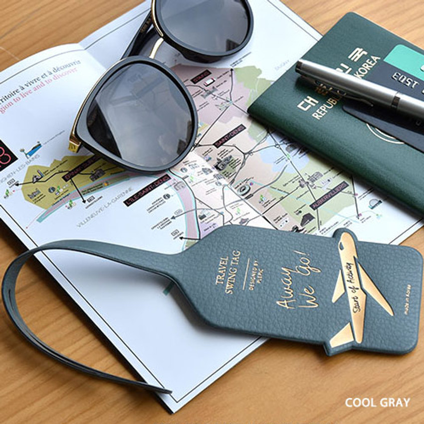 Cool gray - Away we go travel swing luggage name tag