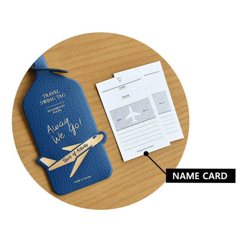 Information card - Away we go travel swing luggage name tag