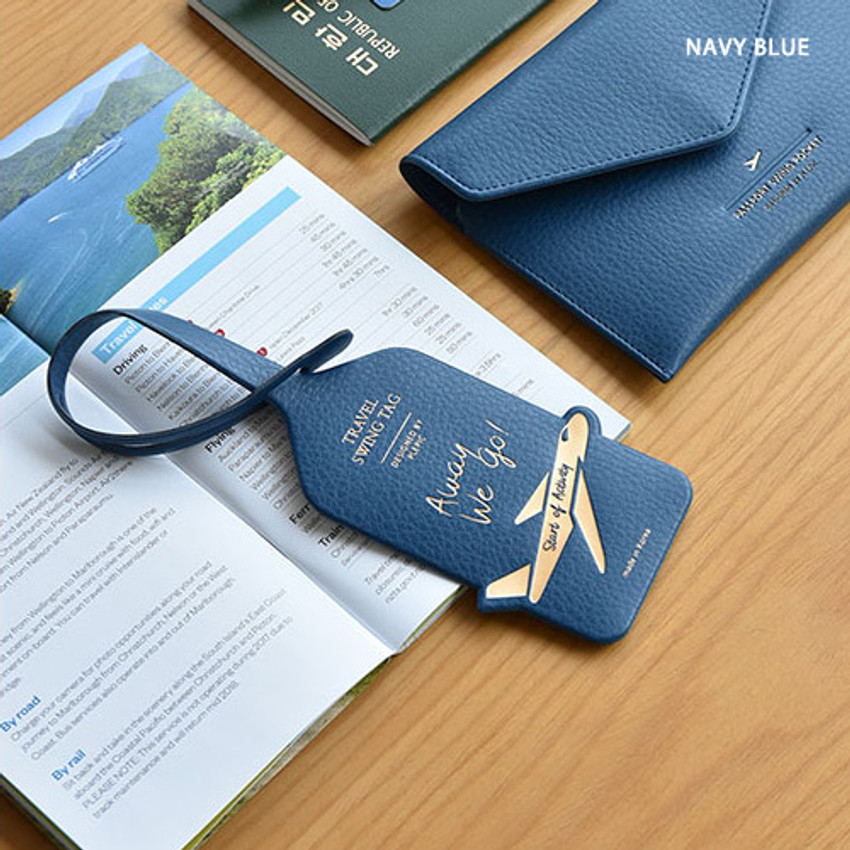 Navy blue - Away we go travel swing luggage name tag