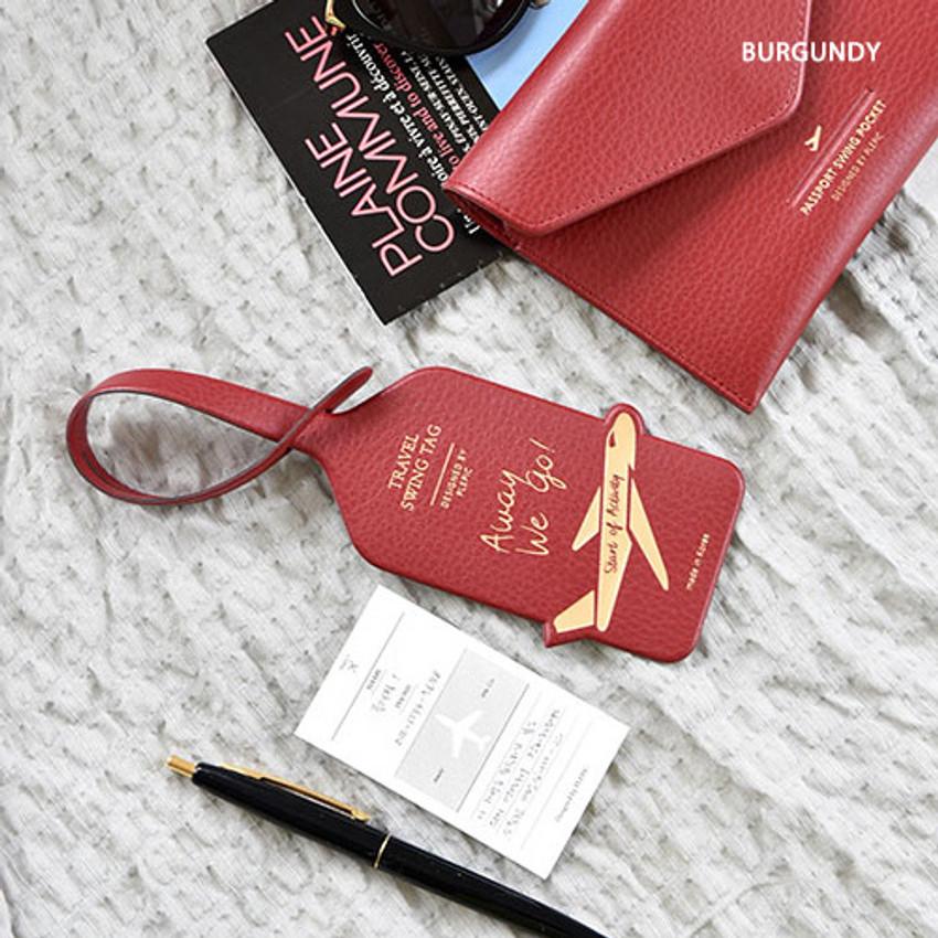 Burgundy - Away we go travel swing luggage name tag