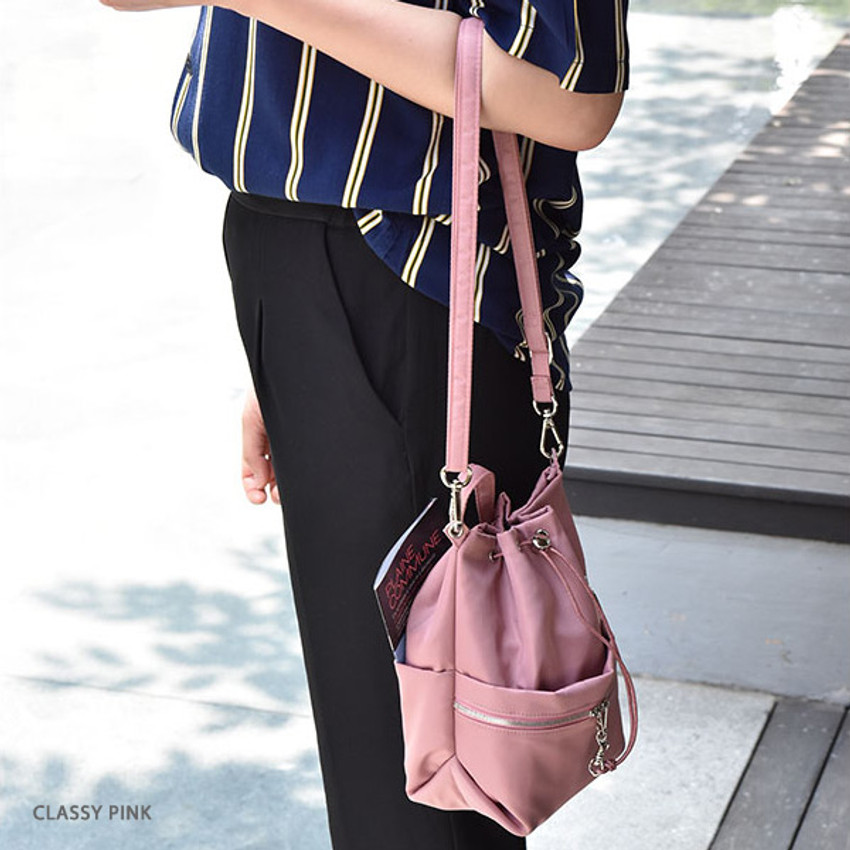 Classy pink - Holiday drawstring crossbody bucket bag