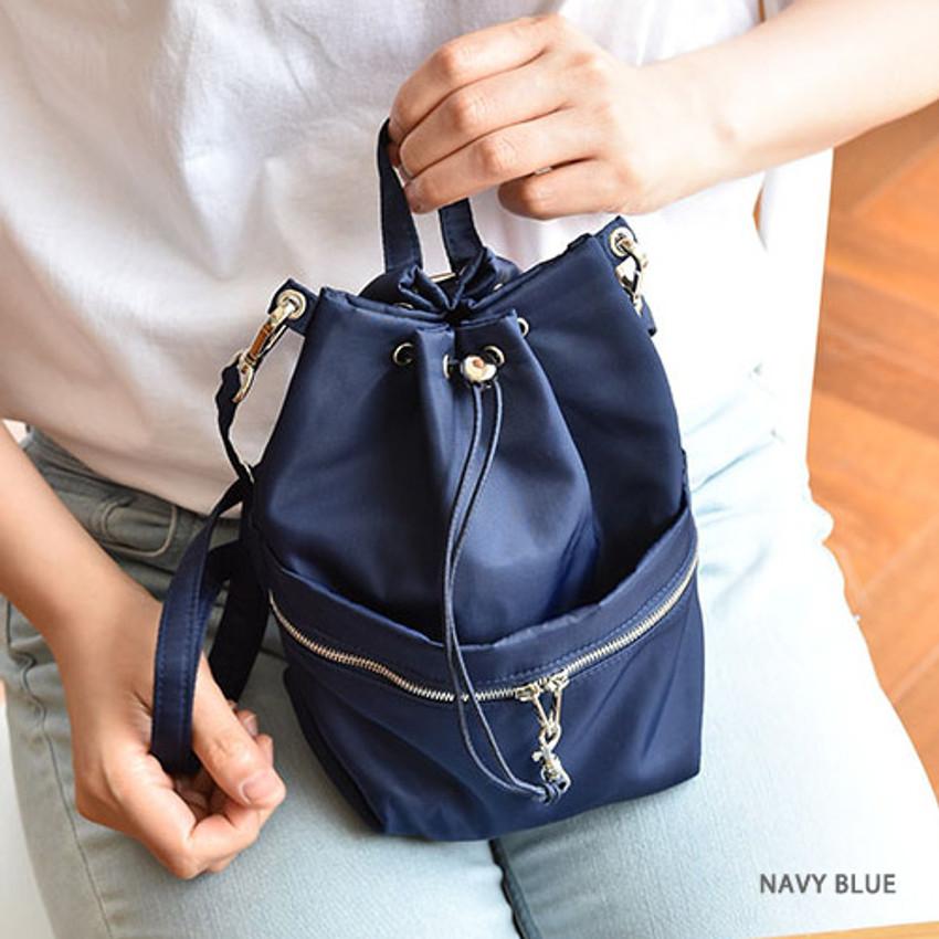 Navy blue - Holiday drawstring crossbody bucket bag
