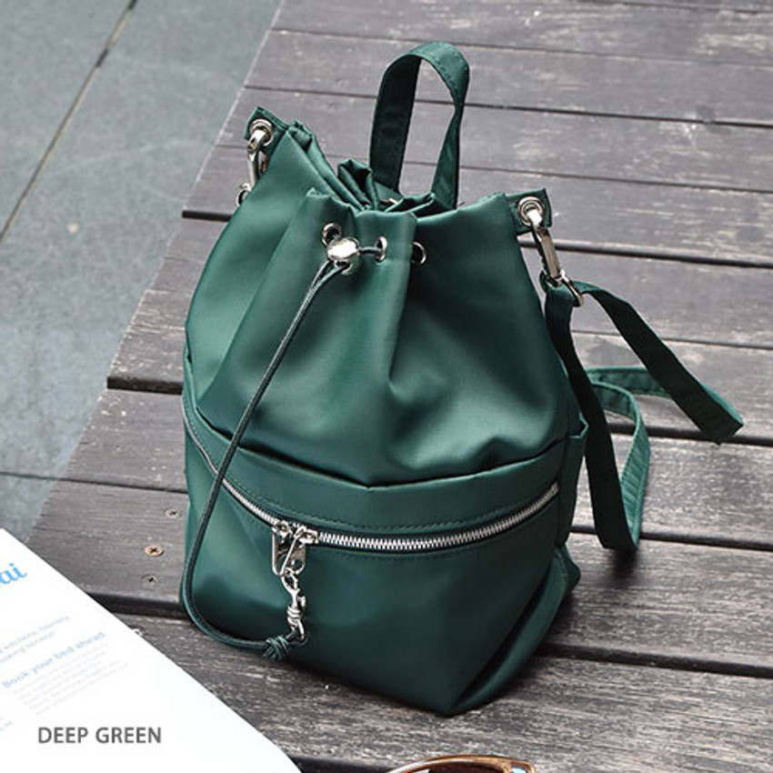 Deep green - Holiday drawstring crossbody bucket bag