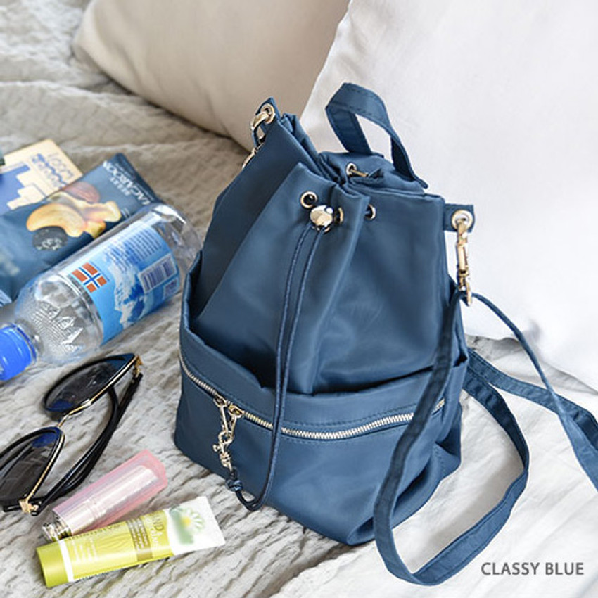 Classy blue - Holiday drawstring crossbody bucket bag