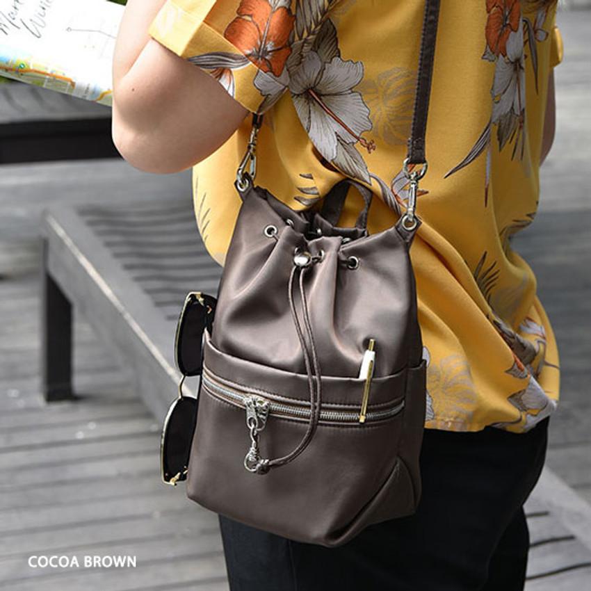 Cocoa brown - Holiday drawstring crossbody bucket bag