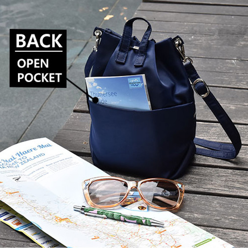 Back pocket - Holiday drawstring crossbody bucket bag