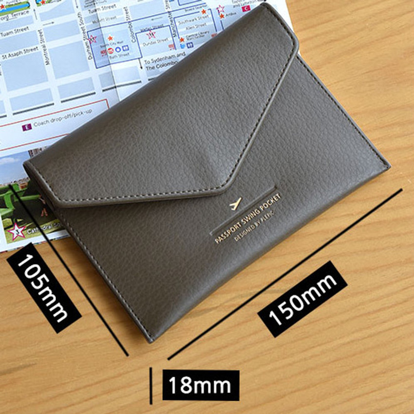 Size of Away we go swing RFID blocking passport case
