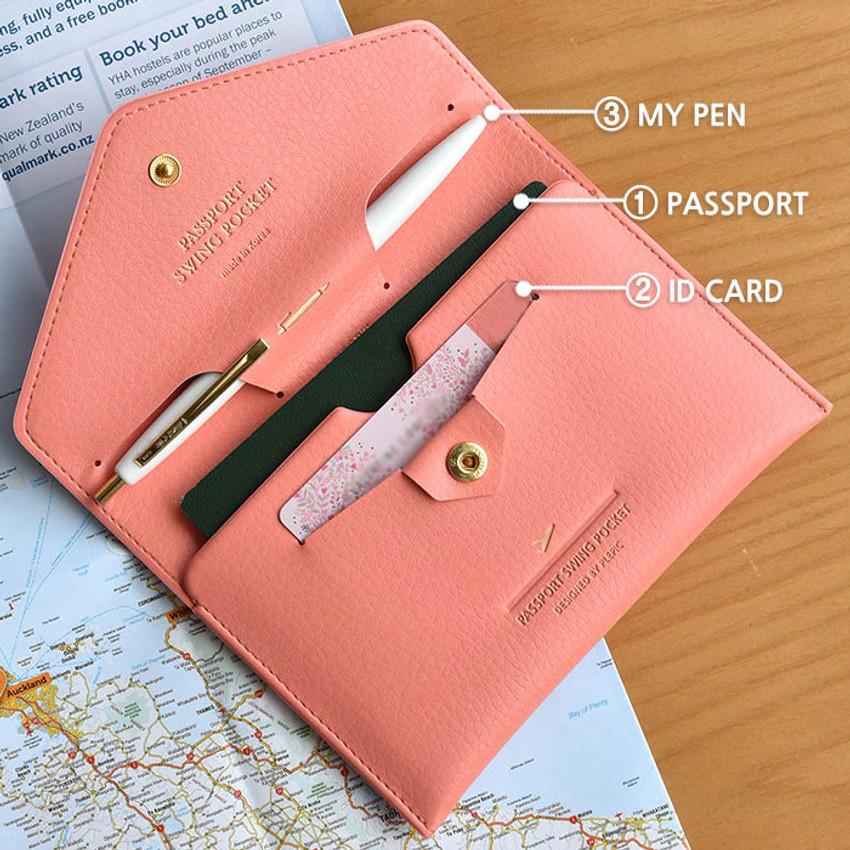 Detail of Away we go swing RFID blocking passport case