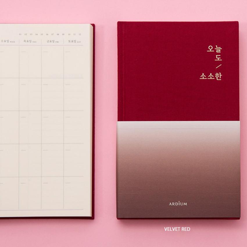 Velvet red - Sosohan undated daily diary agenda