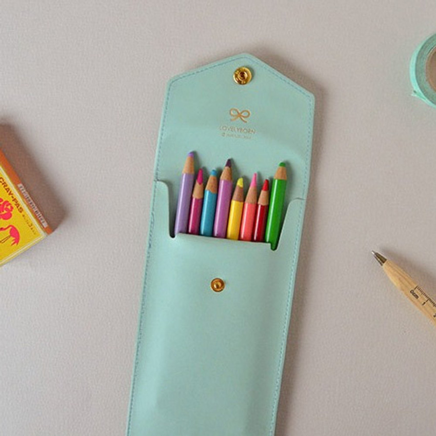 Baby mint - Lovelyborn synthetic leather pocket pencil case